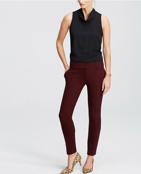 Ann Taylor D37 Chianti or Gray Modern Fit Double Cloth Ankle Pants $98.00