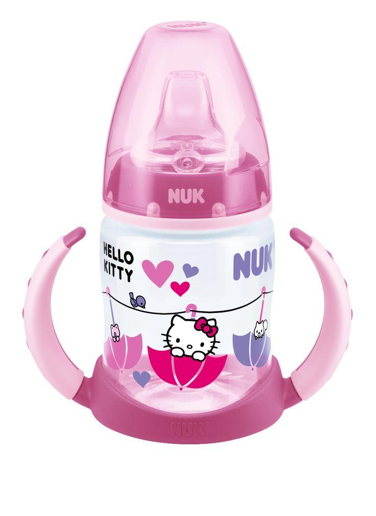 Biberão de Aprendizagem NFC Hello Kitty 150ml, com bocal em silicone anti-gota. www.nuk.pt