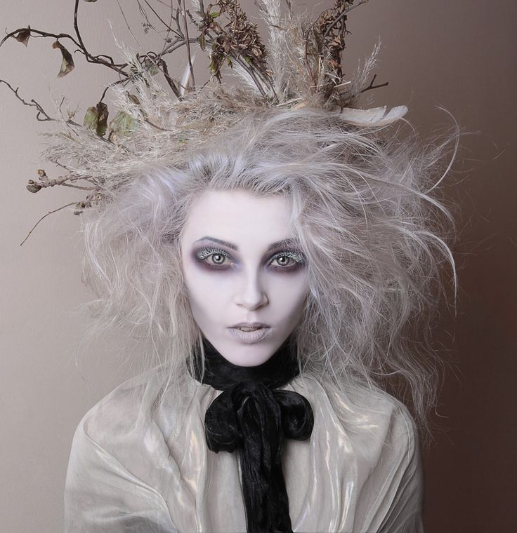 Tim Burton inspired make up by White Rabbit mua. Stephy H White Grey hair avant guard hollow eyes creepy white eyelashes https://www.instagram.com/stephakneesofbees/