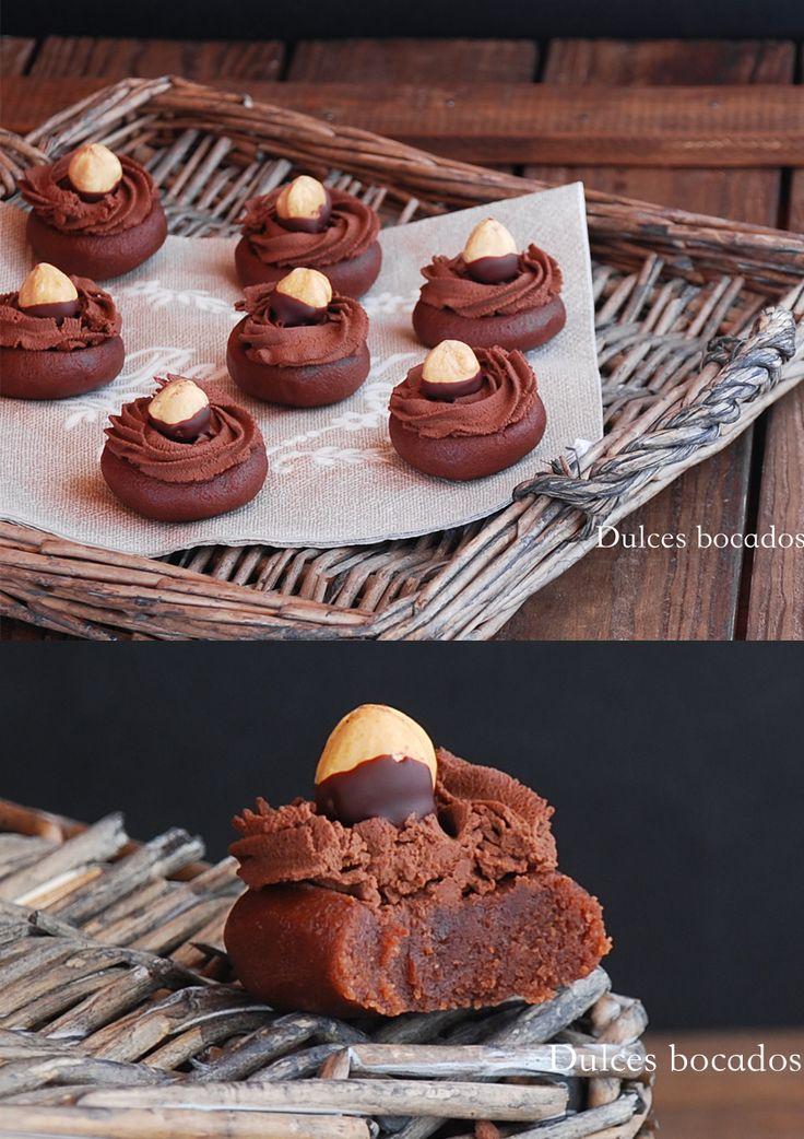 Mini bocados de avellanas y chocolate / http://www.dulcesbocados.com/