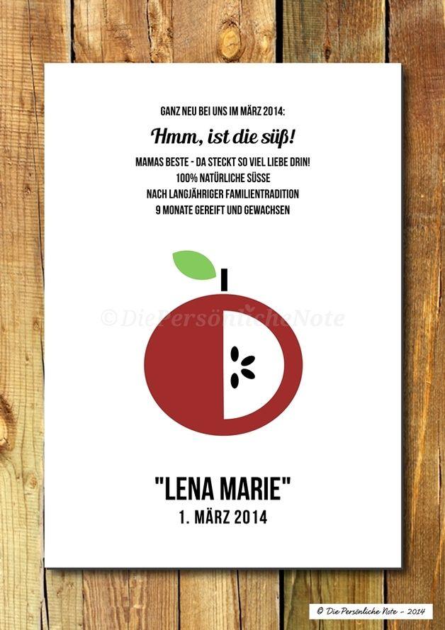 (Apfel)süße Geschenkidee zur Geburt und Taufe - Druck/Wandbild/Print fürs Kinderzimmer: Apfelsüß