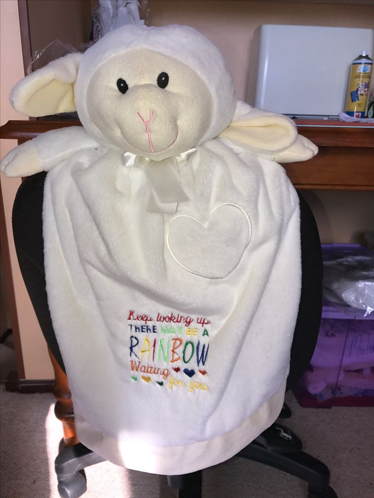 All White and cute just like the real deal. Every child would be more than happy to have their very own Personalised Lambkin Blankie that they can snuggle and cuddle then later maybe use as a puppet. http://teddybearsandgifts.com.au/personalised-gifts/baby-blankies/