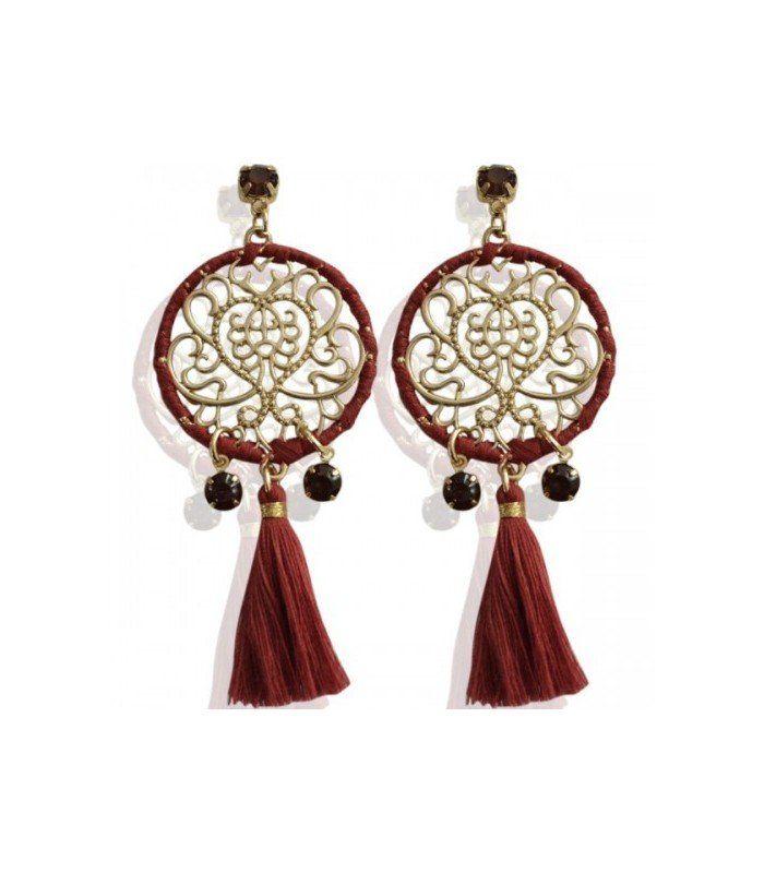 Goudkleurige oorbellen met bedel,rode kwastjes en stenen Hanger. Voor slecht € 2,95