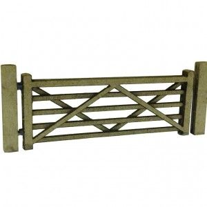 Laser Cut Five Bar Gates & Posts (Pack Of 3) – OO/4mm/1:76. A pack of three laser cut card farm style five bar gates with a wide range of uses on your OO scale #modelrailway #layout #gates