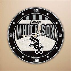 Chicago White Sox Art Glass Wall Clock
