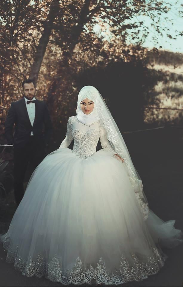 Beaded Ball Bridal Gowns Muslim Wedding Dresses Modest