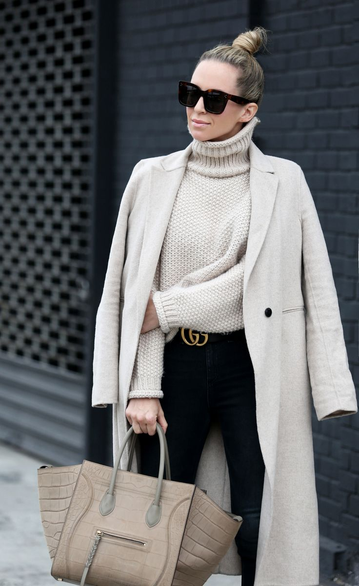 Casual Layers by Brooklyn Blonde - Top Coat: Zara | Sweater: Moon River ℅ | Denim: Rag & Bone | Loafer Slides: Gucci | Sunglasses: Celine | Bag: Celine Phantom | Belt: Gucci |  Lipgloss Bobbi Brown December 13, 2016