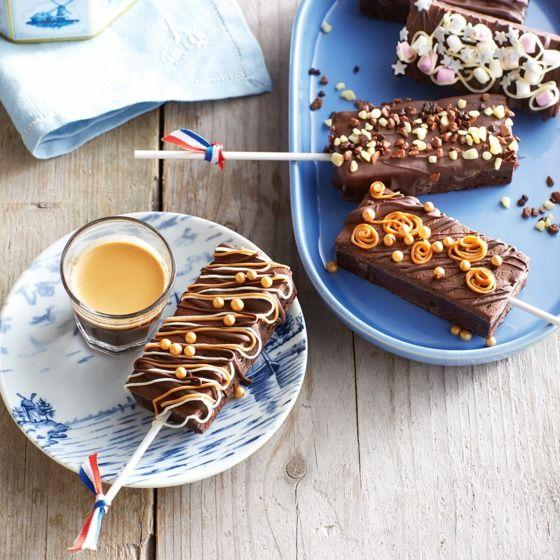 Wat feestelijk: de brownie-lolly. En glutenvrij, daar kun je dus ook van genieten als je een glutenintolerantie hebt. #recept #voorjaar #JumboSupermarkten