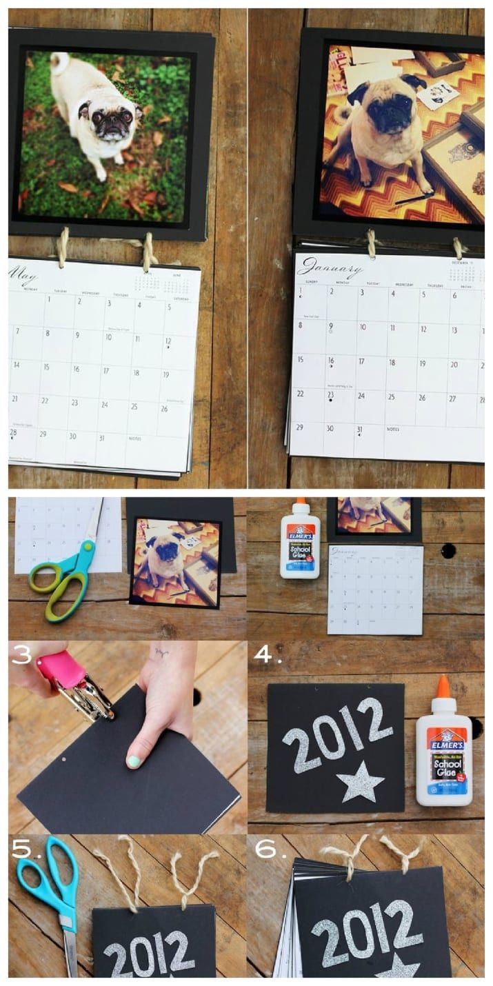 Use your 12 favorite photos, a mini calendar, yarn, and decorative paper to create a calendar of happy memories. Find the full tutorial here.