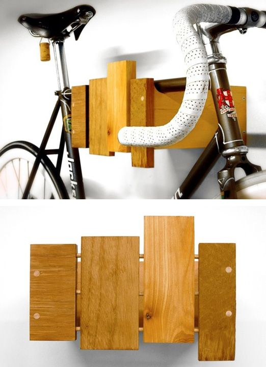 wall-mounted-bike-rack .. much nicer than those metal things from the hardware store :) .. especially for apartment/condo dwellers who have to store the bike inside