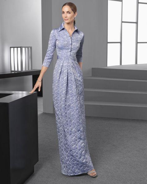 15e8a6555c Imagen 89 Vestido largo clásico de costura de mikado con cuello camisero y manga  larga