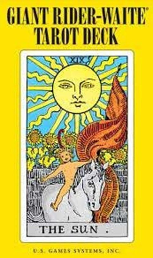 "Giant Rider-Waite Tarot by Pamela Colman Smith  Established as a classic, the Rider-Waite tarot remains faithful to the artistry of Pamela Colman Smith's 1909 design, and has carried it into this ""giant,"" card design. 4 x 6 1/2"""
