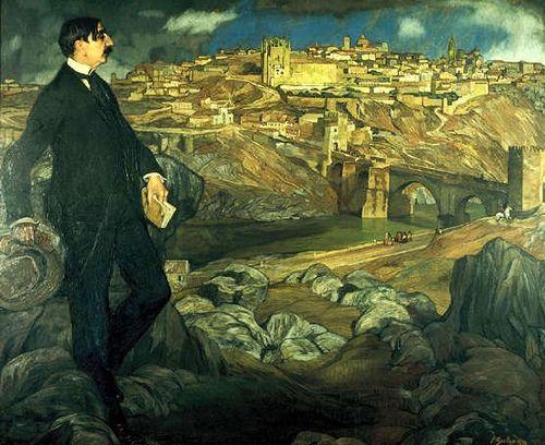 Zuloaga, Ignacio (1870-1945) - 1914 Maurice Barres in Front of Toledo - Homage to El Greco (Musee Lorrain de Nancy, France), for more please visit http://painting-in-oil.com/artworks-El-Greco-page-1-delta-ALL.html
