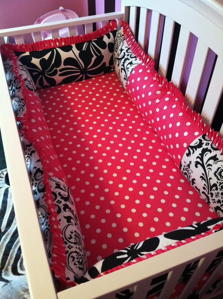 Pink And Black Damask Nursery Crib Bedding Custom Designed And Created By Posh Petites Boutique
