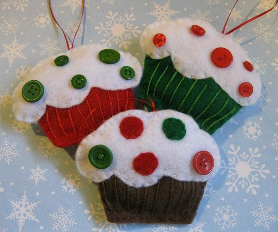 Felt Christmas Ornament Brown Cupcake