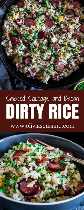 Dirty Rice with Smoked Sausage and Bacon   www.oliviascuisine.com   This spin on the classic Cajun/Creole Dirty Rice is made with bacon and smoked sausage instead of the traditional chicken liver. Easy, hearty and perfect as a weeknight meal or as a side dish for a special occasion, like Thanksgiving! (Recipe and Food Photography by @oliviascuisine.) AD #SwitchCircle #JennieO