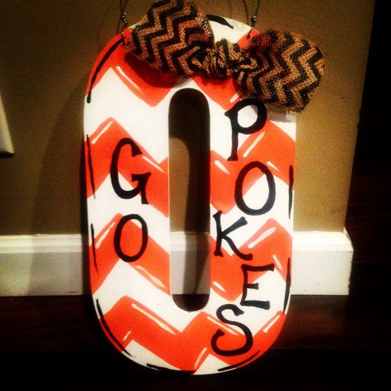 Handpainted Oklahoma State Cowboys Chevron Door by allyinman