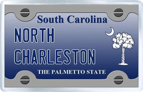 $3.29 - Acrylic Fridge Magnet: United States. License Plate of North Charleston South Carolina