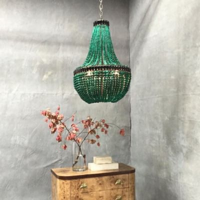 La Malaquita Chandelier currey and company emerald beaded lighting marjorie skouras pyrite stone beaded luxury
