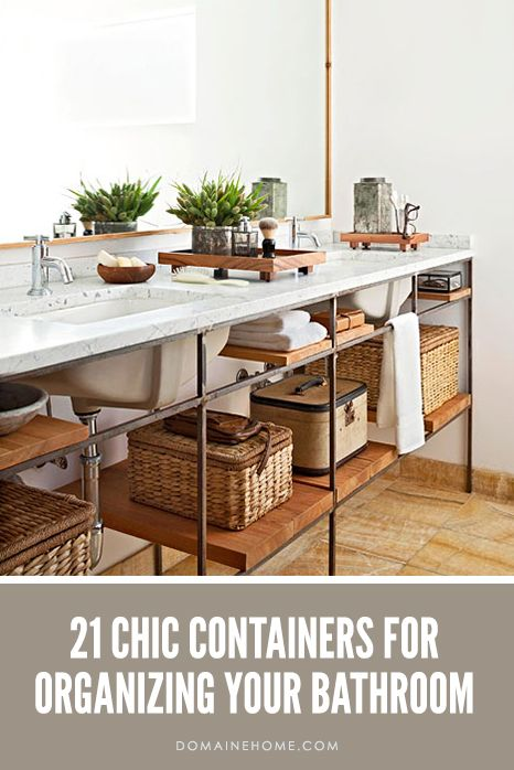 21 Chic Containers For Organizing Your Bathroom // bathrooms, organization, storage ideas: Interior, Big Mirror, Idea, Modern Bathroom, Bathroom Storage, Large Mirror, Bathroom Mirror, House, Open Shelving