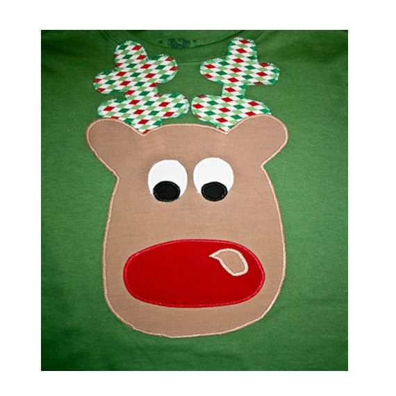 Boys Christmas Shirt  Applique Reindeer Shirt for Children or Baby Tee Shirt or onesie
