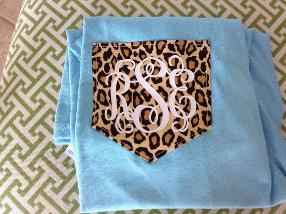 Short Sleeve Monogram Cheetah Print Pocket by YounInkBoutique, $19.00