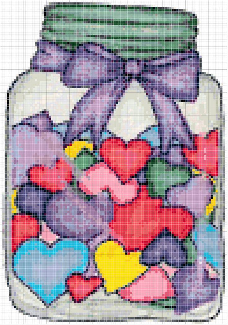 Jar of sweets in cross-stitch, pattern / Tarro de golosinas a punto de cruz, patrón