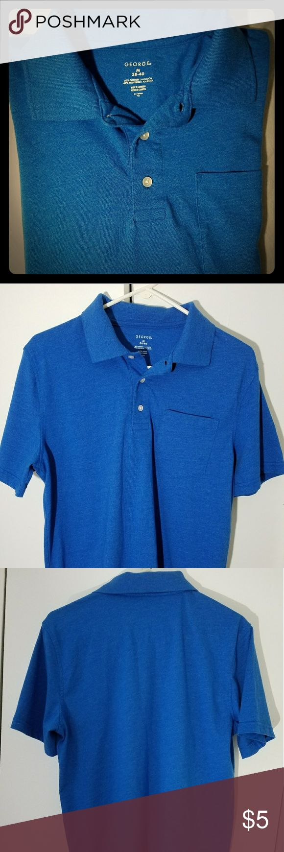 George M Polo Shirt With Pocket 60% Cotton/40% Polyester. 38-40. Comfortable and Collared. Blue with 3 buttons in the front. Perfectly Casual or ready to do some work. Only wore once. George Shirts Polos
