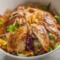 Sesame Salad - Spring mix, iceburg lettuce, carrots, cilantro, sesame seeds, wanton, and oriental sesame dressing. | Hibachi Grill & Noodle Bar