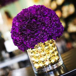 purple flower, gold bulb arrangement- perfect for the coffee table!