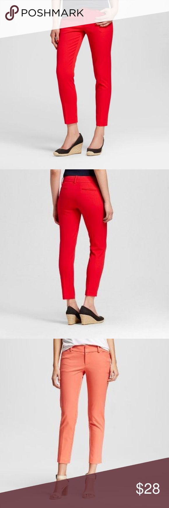 NEW Orange Spark Modern Ankle Pants NWT [D6] Add some color to your summer wardrobe with the Merona Women's Modern Ankle Pant. With a mid-rise waist, ankle-length hem and fitted cut, you'll love the look and feel of these pants. The pants have all the necessary details of your favorite skinnies like front and back pockets, belt loops and overall chicness.  size 4 waist 30 inseam 27 rise 8 leg opening 11  new with tags color: orange spark  @cjrose25  *stock photos to show style & fit in red…