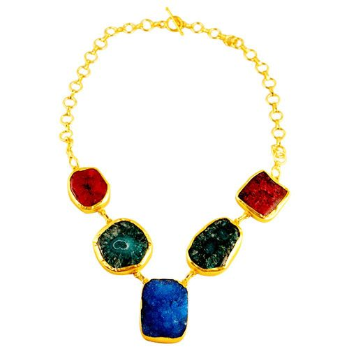 MULTICOLOURED NATURAL STONES NECKLACE