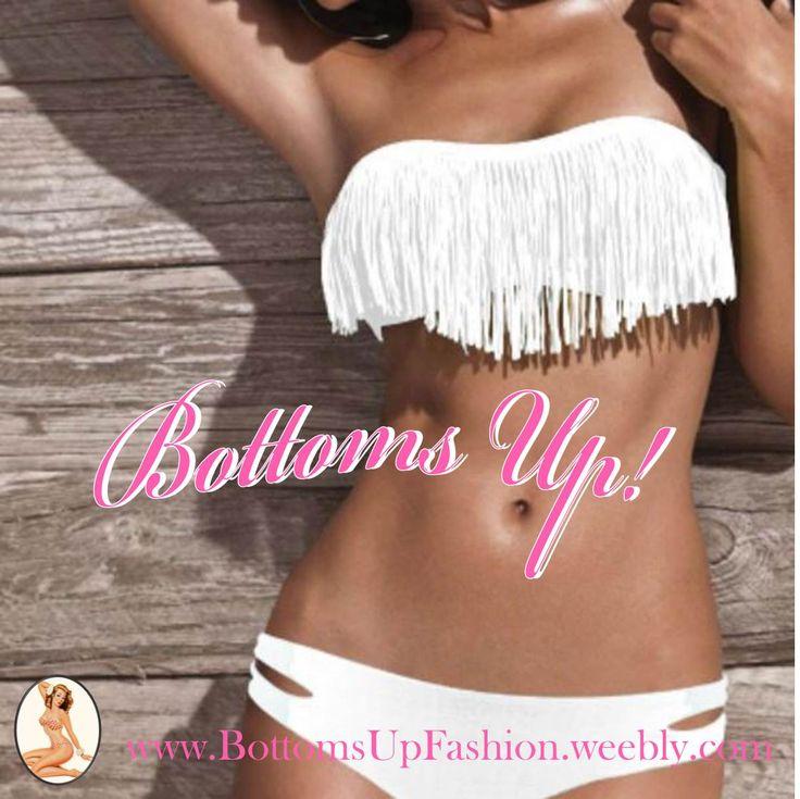 Strapless Tassle Bikini– WHITE  Order Code: BU1001W Sizes: S / M / L  Email: bottoms-up-@hotmail.com for orders/enquiries