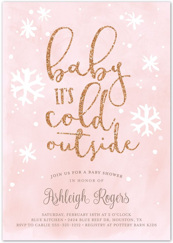 Celebrate a winter baby with this Baby It's Cold Outside printable invitation in pink and rose gold glitter by Hello Rose Paperie. Available at hellorosepaperie.com #babyshowerinvitations #babyshowerideas #babyitscoldoutside