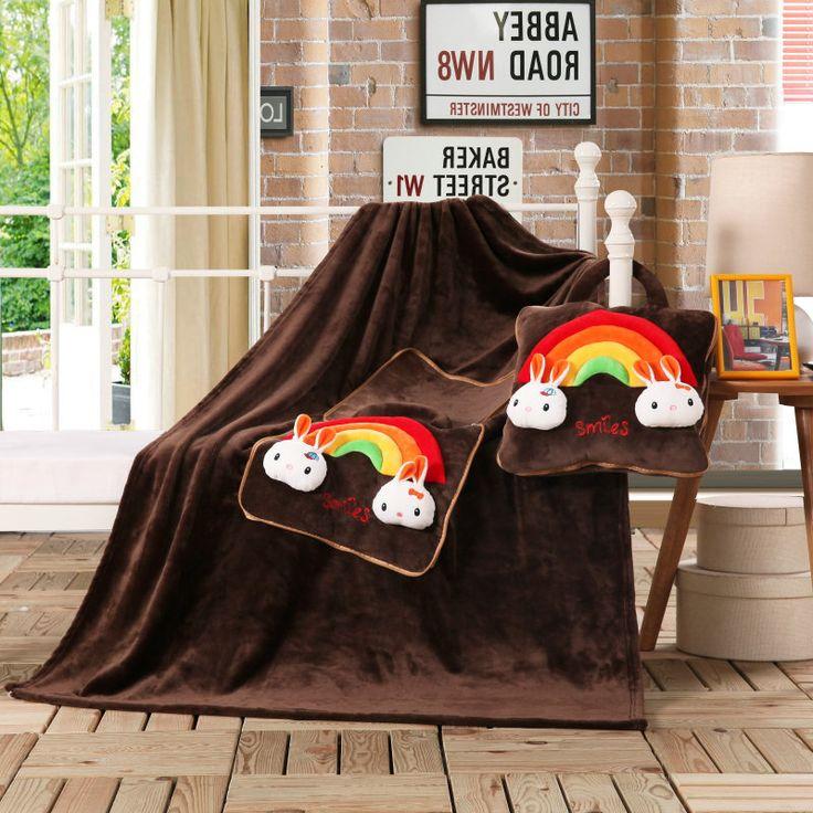 Detské deky 3v1 v tmavohnedej farbe s dúhovými zajačikmi