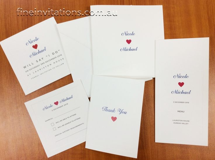 Matching wedding stationery with a simple red love heart, printed on classic textured ivory cards with embossed border #fineinvitations #weddinginvitationssydney