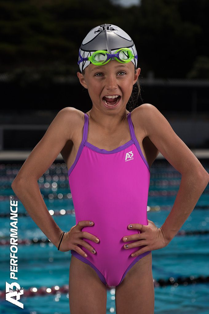 d205fd79ee09c Little Girls LOVE swimming in our A3 Performance Girls Lyrca Swimsuits. A3  Performance's Little Girls Lycra Suits are high quality and fun colors to  make ...