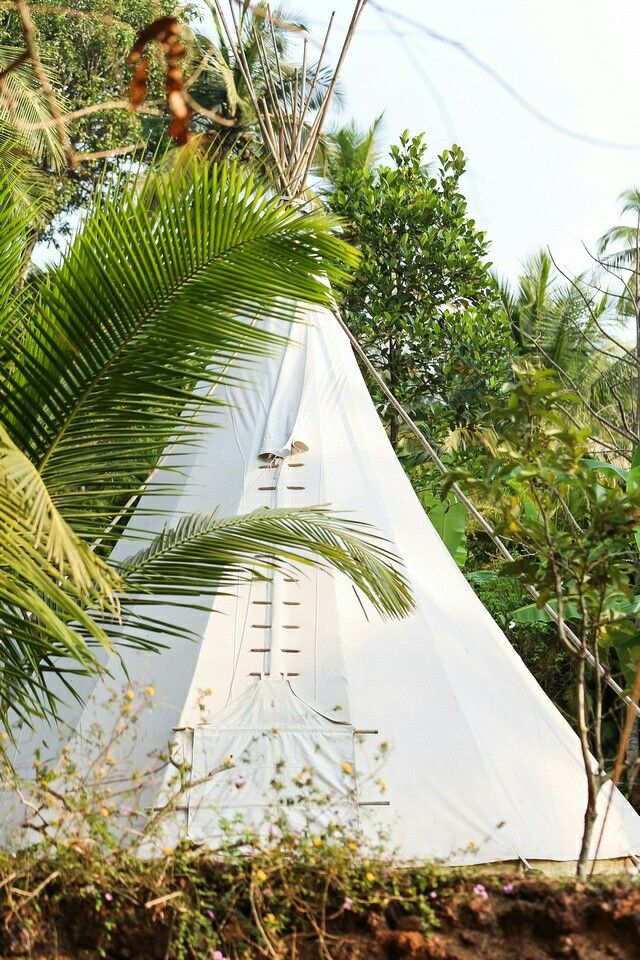 Teepee tent as hotel room. BOHO. GYPSET. La Mangrove Goa. Chic tipis & River Lounge. Boutique Hotel. South-Goa. India. www.lamangrovegoa.com