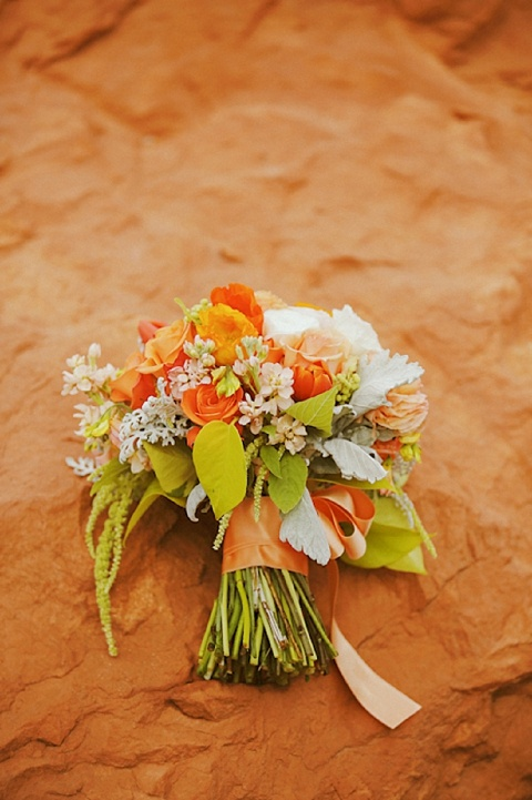 Tangerine Tango Bouquet  Concept: Utah Bride Blog // Photography: Gideon Photography // Event Design & Rentals: Forevermore Events // Flowers: Blossom Sweet