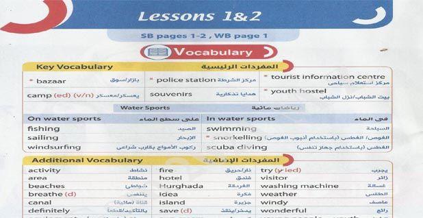 كتاب جيم Gem فى اللغة الانجليزية للصف الثالث الاعدادى 2021 ترم اول Tourist Information Lesson Vocabulary