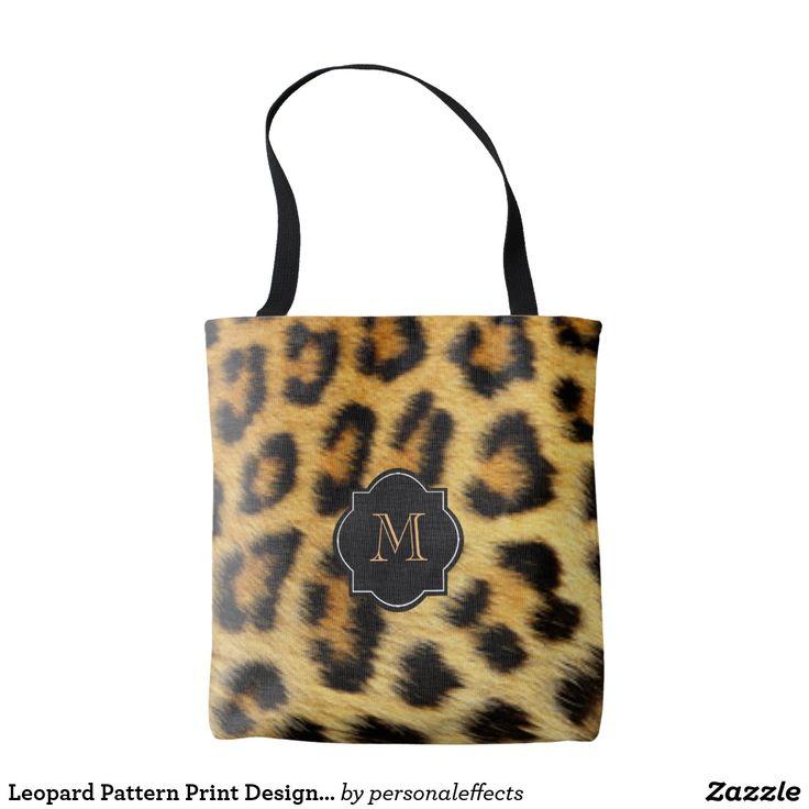 Leopard Pattern Print Design With Monogram Tote Bag - leopard, animal print, fur, wild, animal, animals, print, safari, jungle, feminine