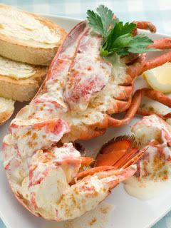 Lobster Newburg: 2 egg yolks, beaten, ½ c Greek yogurt,4 T butter, 2 T Madeira, ¼ t s & p, 1 pinch cayenne pepper & nutmeg, 1 pound cooked lobster meat, broken into chunks, Make sauce and cook til thick. fold in lobster. Serve hot over slices of buttered sliced Italian