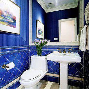 Beautifully rich cobalt blue half bath