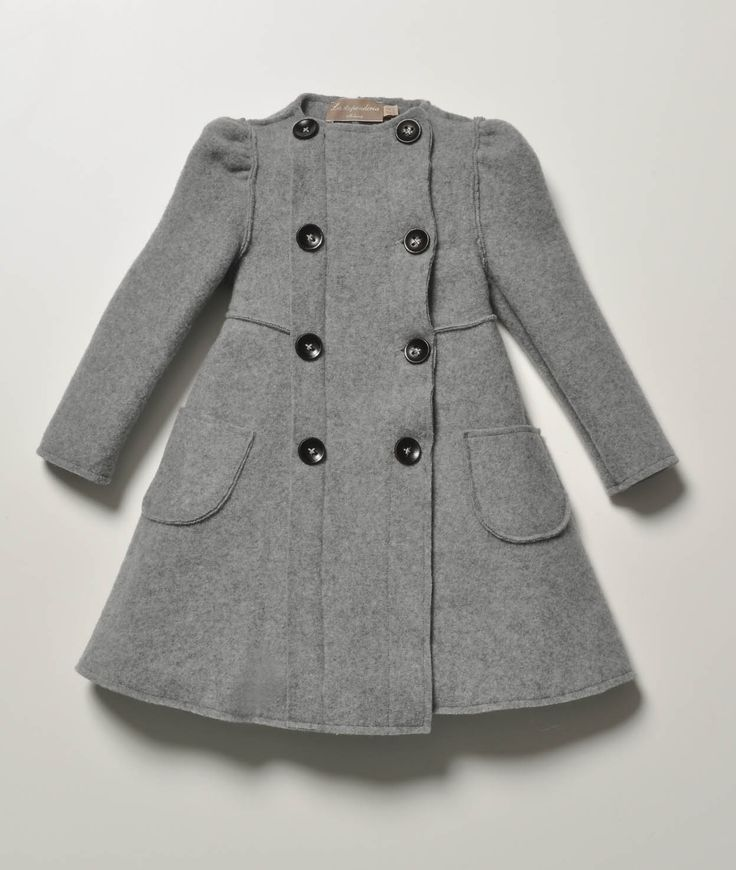 La Stupenderia Girls Grey Mathilde Wool Coat