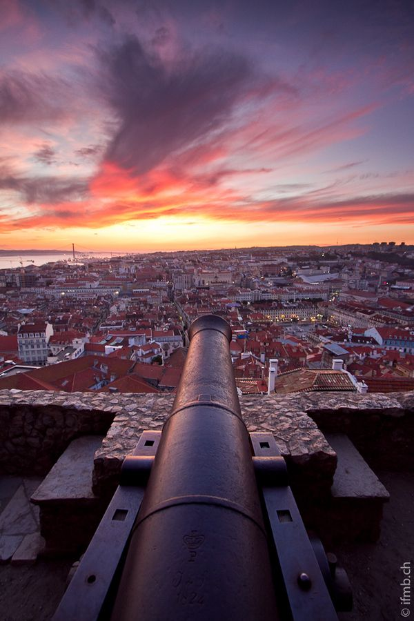 Castle St George Cannons at dawn, Lisbon, Portugal