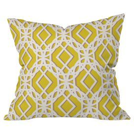 Add a pop of color to your favorite chaise or arm chair with this lovely pillow, showcasing a geometric motif in yellow.  Product: PillowConstruction Material: Woven polyester cover and polyester fillColor: Yellow and whiteFeatures:  Designed by Aimee St Hill for DENY DesignsInsert includedConcealed zipper closure Hypoallergenic  Cleaning and Care: Machine wash cover and tumble dry low. Spot treat insert with mild detergent.