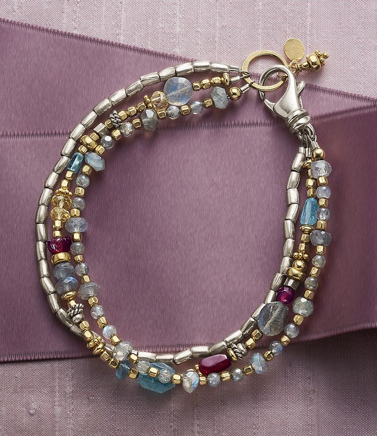 Easy As 1-2-3 Bracelet -  sterling silver barrel beads; labradorites with 14kt goldfill beads and ring; and a mix including garnet, apatite and citrine.