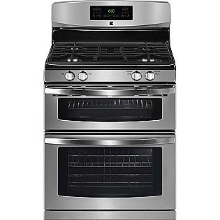 Cook two meals at different temperatures at once with the Kenmore dual cavity range. Cast iron, full coverage grates are dishwasher-safe for easy clean-up. The cooktop also features a high output power burner.