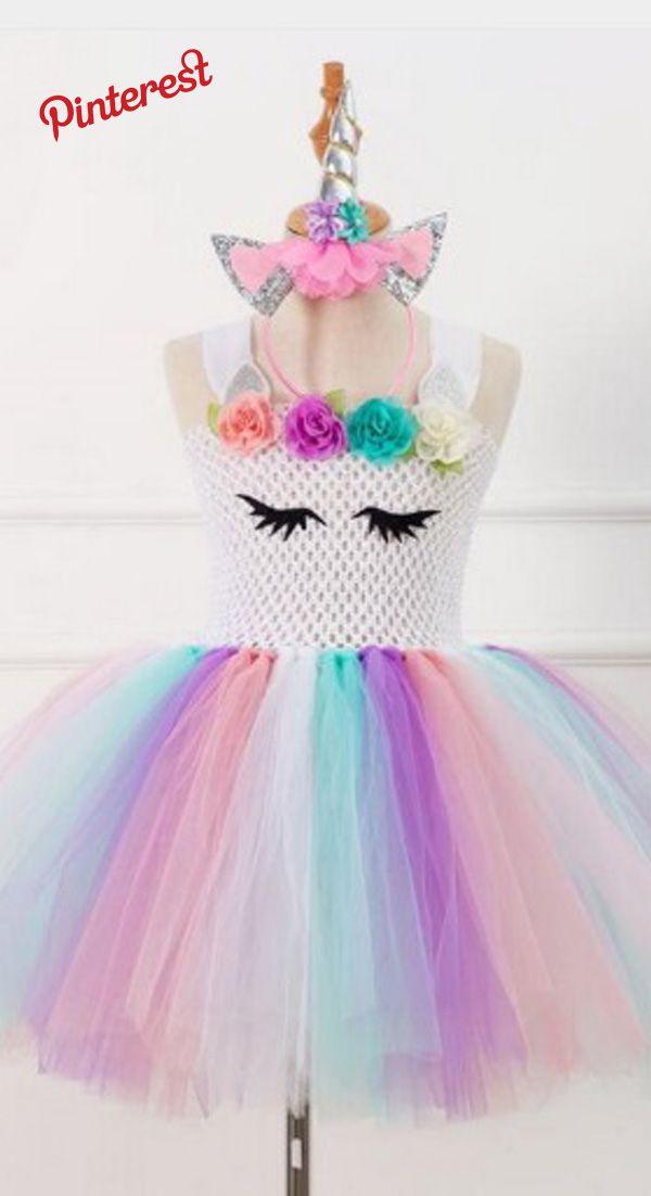 d0da44898 Del Unicornio del arco Tutu Vestido de Tule con Aro Pelo Princesa ...