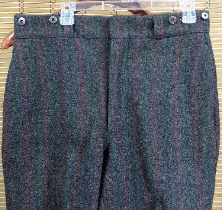 "VTG 80s Eddie Bauer Charcoal Red Green Laced Jodhpurs 33"" Wool Hunting Pants #EddieBauer #JodhpursHunting"